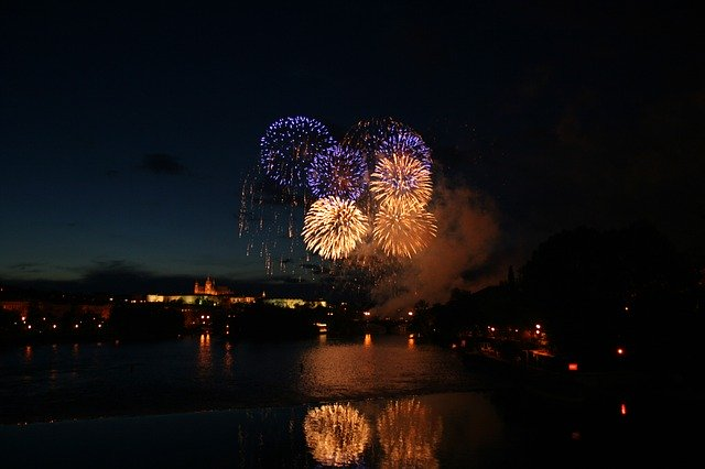 Fireworks reflected in water used in column grid example