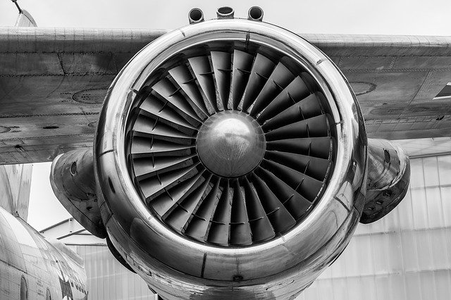 Close up of a jet engine on an airplane's wing